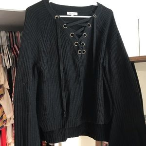 Black Lace Up Sweater w/ Bell Sleeves